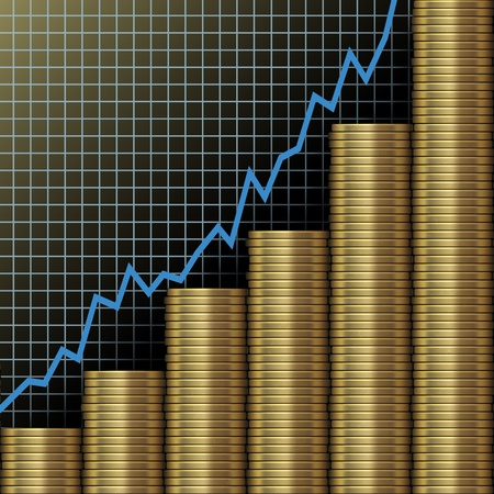 Chart of  investment and economic growth as graph above stacks of gold coins photo
