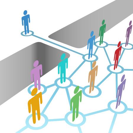 Diversas personas un puente para conectar y equipo de red o fusión de medios de comunicación social Ilustración de vector