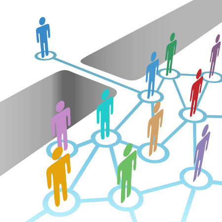 merger: Diverse people bridge a gap to connect and join social media network or merger team