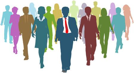 Siluetas de recursos humanos de las personas de diversos negocios siguen un jefe de equipo