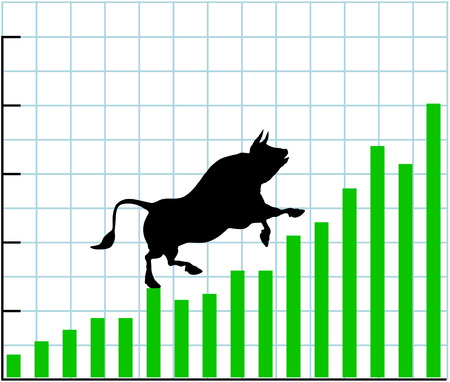 Bull climbs up a bullish growth graph of stock market investing profit chart Stock Vector - 8773903