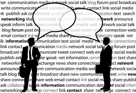 Two business people share social media network talk in speech bubbles
