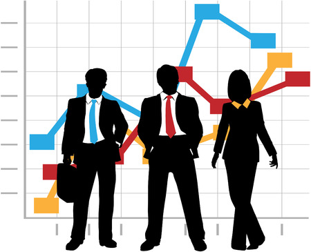 Business Sales Team stands in front of a Company Growth Graph Chart Çizim