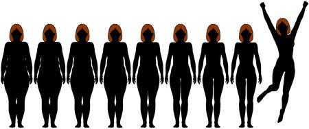 skinny: Mujer frontales siluetas de antes y despu�s de grasa para el �xito de p�rdida de peso de dieta Vectores
