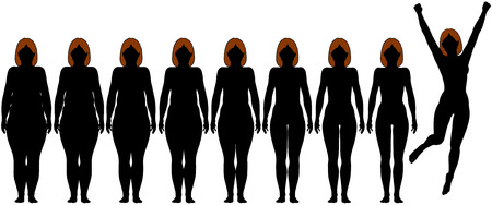 weight loss success: Woman frontal silhouettes of before and after fat to fit Diet Weight Loss Success