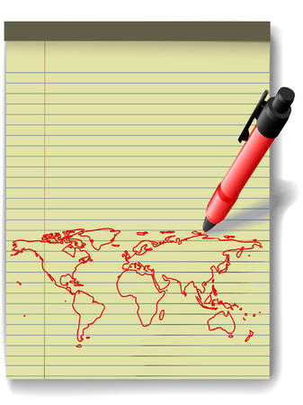 Pen drawing a world map in red ink on a yellow legal paper pad  Vector