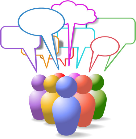 meet: Game piece style symbol people talk in colorful social media copy space speech bubbles Illustration