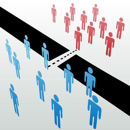 Twee afzonderlijke groepen vinden gemeenschappelijke grond te verenigen fuseren samen over gap Vector Illustratie