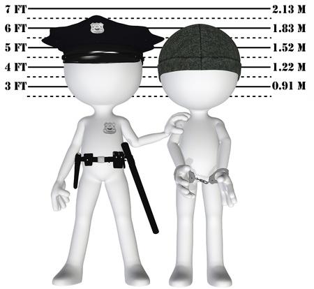 Poliziotto detiene 3D penale in una foto segnaletica scaletta del cop e perp sballato Archivio Fotografico - 8889477