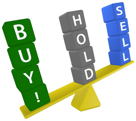 Scale symbol weighs stock buying investing decision BUY SELL HOLD Stock Photo - 8889473