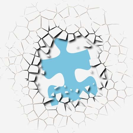 Jigsaw puzzle pieces as symbol of break up problem breakthrough solution Stock Photo - 8889476