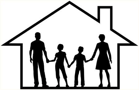 silhouette maison: Les parents et les enfants de famille sécurisée sécurité à la maison à l'intérieur un aperçu maison de sécuriser