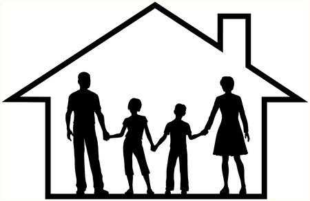 security symbol: Secure family parents and kids safe at home inside a secure house outline