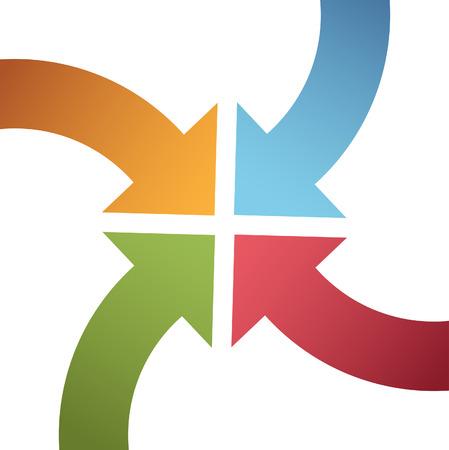 flecha azul: Cuatro flechas curvas barren hacia adentro a punto en el centro de la p�gina de 4 direcciones Vectores