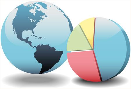camembert graphique: Globe du monde et un graphique � secteurs 3D �conomie financi�re mondiale