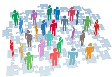 Menselijke hulpbronnen mensen verbinding maken op puzzel stukjes bedrijfsnetwerk
