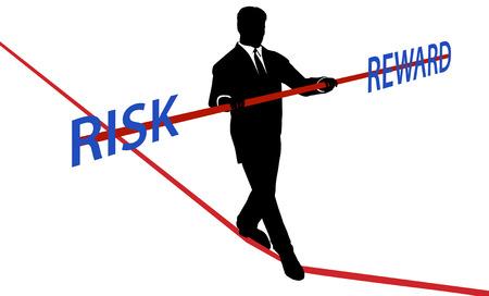 risky: Business man walks tightrope to balance RISK REWARD