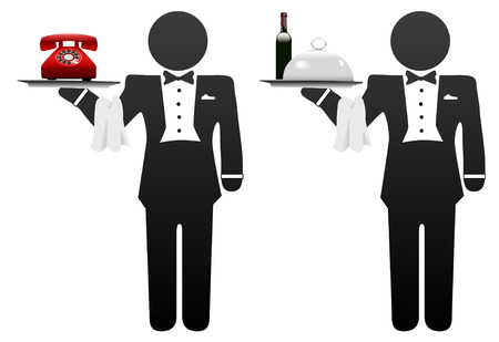 Butler servant or room service waiter delivers food or phone on tray Vector