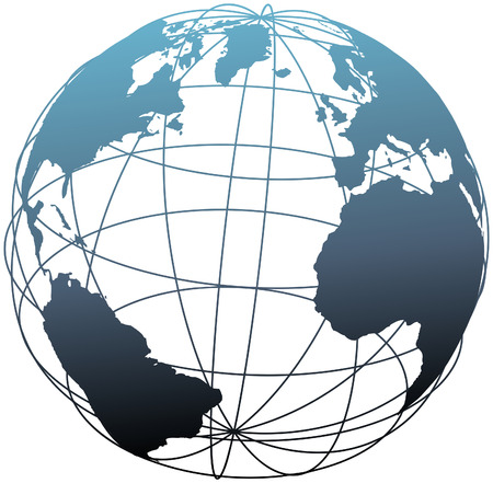 위도: Global wireframe latitude longitude grid Atlantic Earth 3D globe