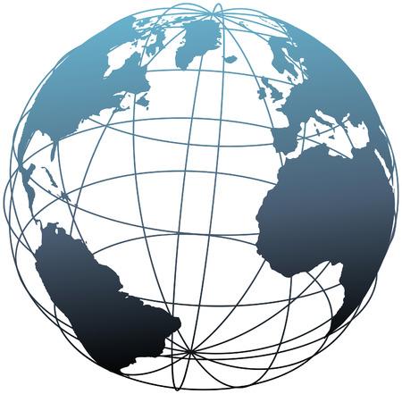 Globo de estructura metálica global latitud longitud cuadrícula Atlántico Earth 3D Ilustración de vector