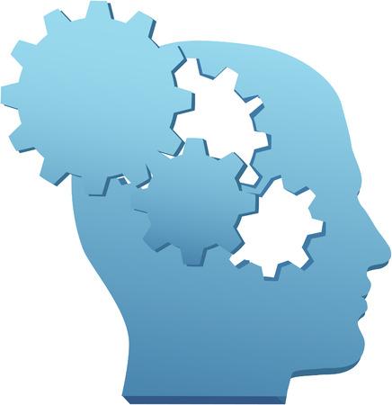 Person mit erfinderischen Geist meint Technologie Gedanken in Gear Ausschnitte Standard-Bild - 8889509