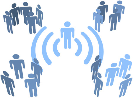 connection: Person uses wifi or other wireless connection to communicate to groups of audiences Illustration