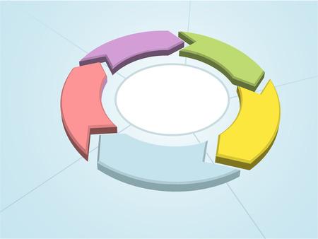 five objects: Ciclo di flusso 5 frecce di gestione del processo di colore cerchio settori di lavoro Vettoriali