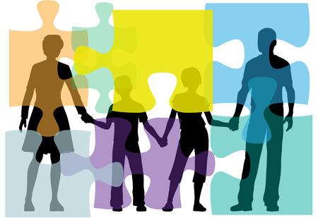 papa y mama: Familia de pap� de mam� ni�os enfrentan problemas como un rompecabezas buscar asesor�a  Vectores