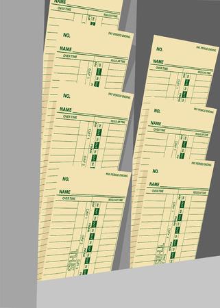 Tarjetas de tiempo en un rack de nómina de la empresa a pagar trabajo salarios por hora Foto de archivo - 8889515