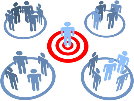 Aim at and find a targeted person in target market bulls eye Stok Fotoğraf - 8976448