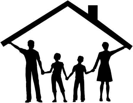 family isolated: Silhouette family safe at home as mom and dad hold up the roof over kids Illustration