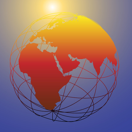 wireframe globe: Earth wireframe globe on a shining sun background as a symbol of new tomorrow and bright future