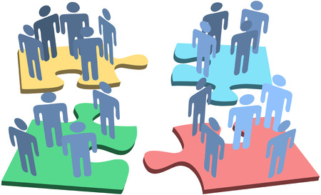 group objects: Human resources or social media people groups connect on network puzzle pieces