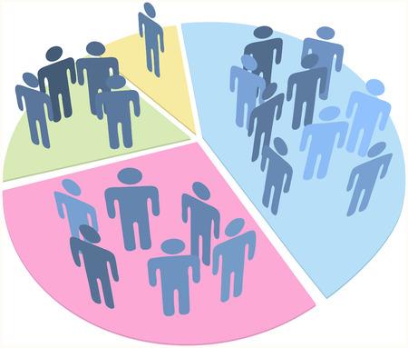원형 차트의 조각 안에 데이터 통계로 사람들의 그룹