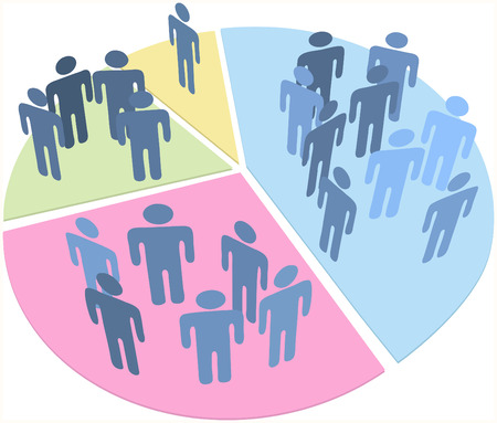 voters: Groups of people as data statistics inside pieces of a pie chart Illustration