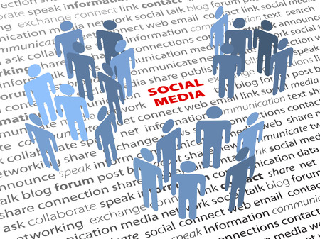 SOCIAL MEDIA people groups network on a page of text background Ilustração