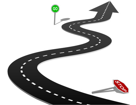long road: STOP and GO signs on curves of the highway forward to success Illustration