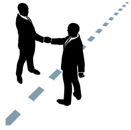 connection: Business people partner handshake in collaboration agreement on dotted line Illustration