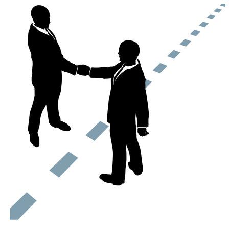 Mensen uit het bedrijfsleven partner handdruk in samenwerkings-overeenkomst op stippellijn