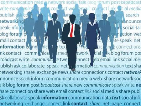 corporate social: La gente a piedi da una pagina dove usano attivamente concetti di rete di mezzi di comunicazione sociale negli affari