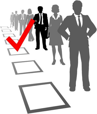 verkiezingen: Markeren om te vinden en te kiezen de beste medewerker van het bedrijf in selectievak controleren  Stock Illustratie