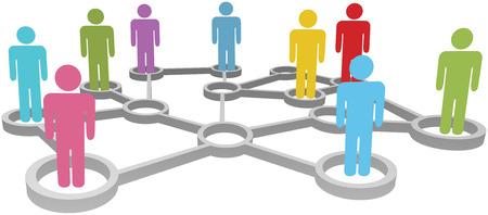 Aangesloten mensen samenwerken in sociale of zakelijke netwerkknooppunten