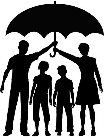 protect family: Family parents hold an umbrella to protect kids