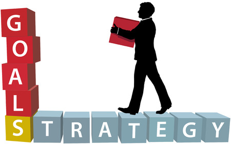 achieve goal: Silhouette businessman builds his business strategy adding blocks to achieve goals Illustration