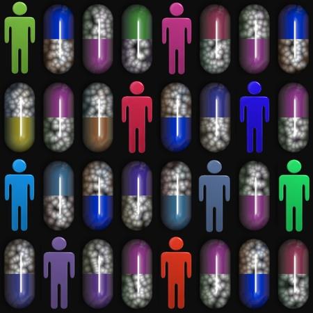 多くのカラフルな錠剤や患者薬局処方薬カプセルと人々 記号行