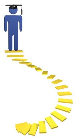 alumni: Espiral educaci�n escalera dorada escaleras conducen estudiante hasta la graduaci�n