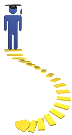 Spiral education staircase golden stairs lead student up to graduation Stock Photo - 9117745