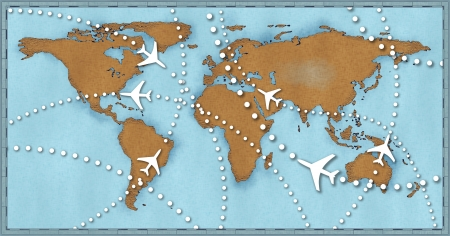 Air travel flight paths dotted lines on world map as commercial airline passenger jets fly air traffic Stock Photo