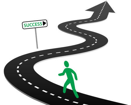 winding road: Person with initiative to begin a journey on curvy highway to success and bright future
