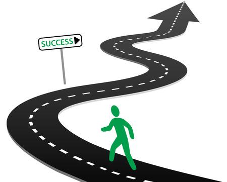 Persoon met initiatief om te beginnen een reis op bochtige snelweg naar succes en heldere toekomst